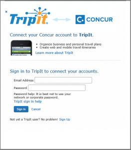 TripIt Login Screen